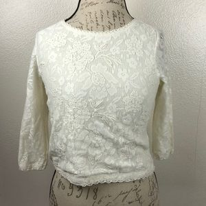 Topshop Lace Pearl Ivory Crop Top Sz-2